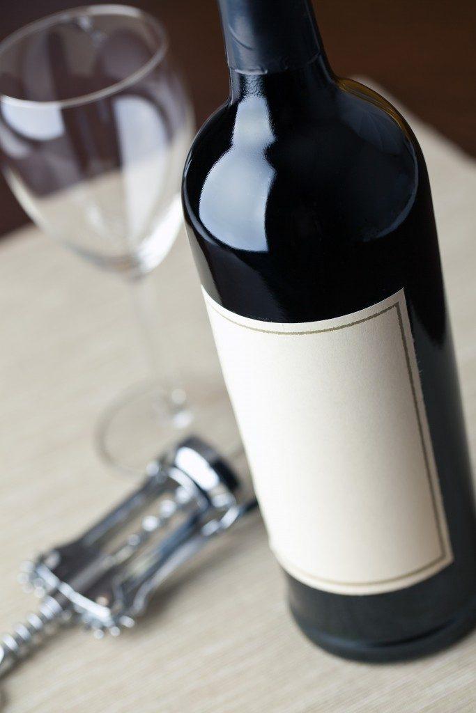 wine with a corkscrew
