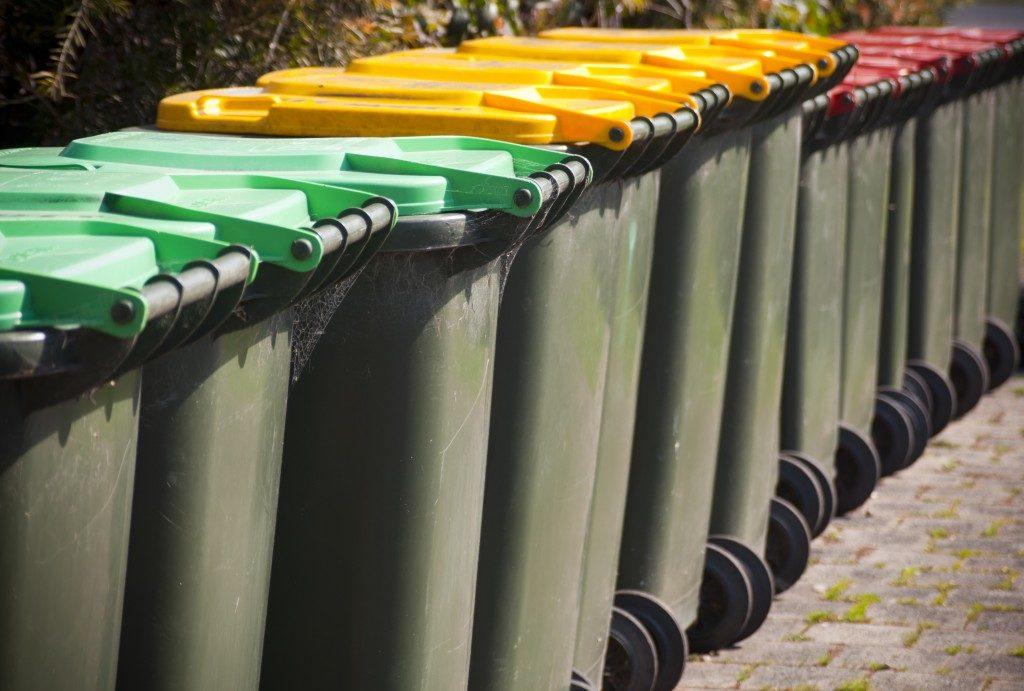 rows of trash bins