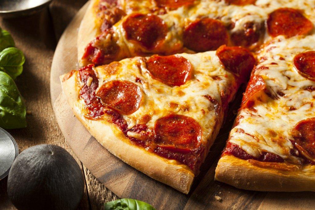 Pepperoni pizza slice close-up