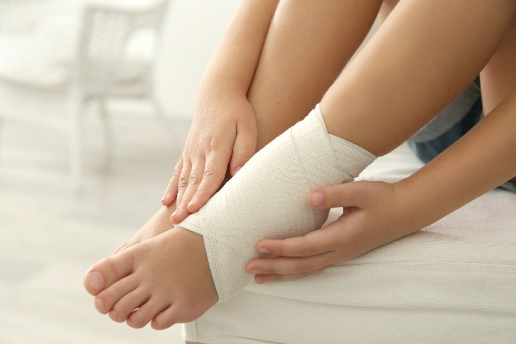Wrapped sprained ankle