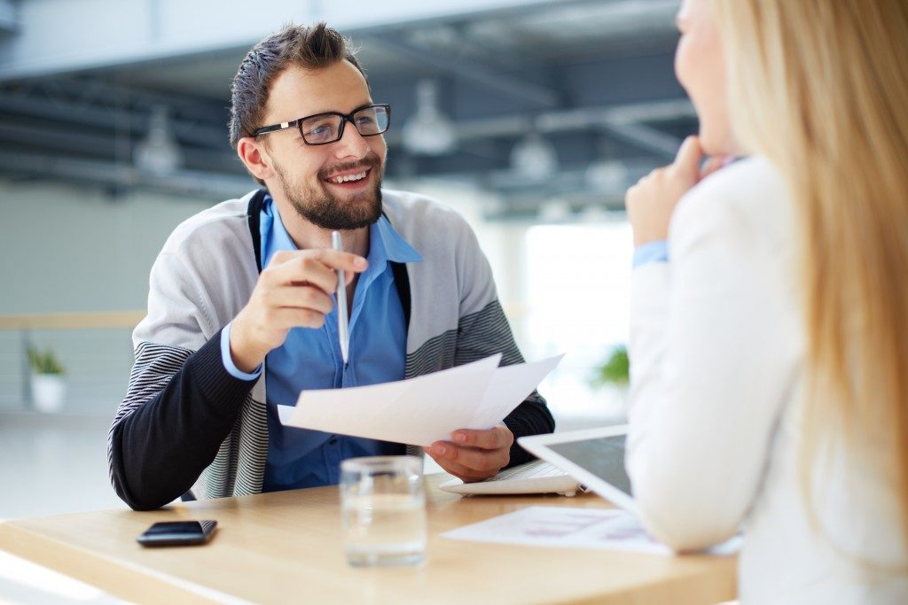 man talking with a client