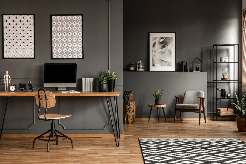 modern office with gay walls