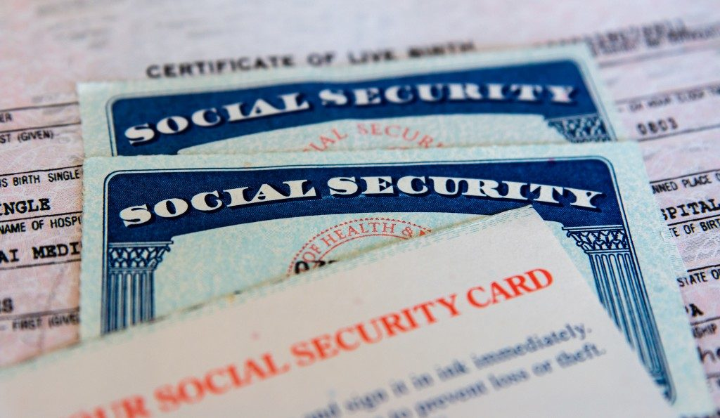 social security card and files