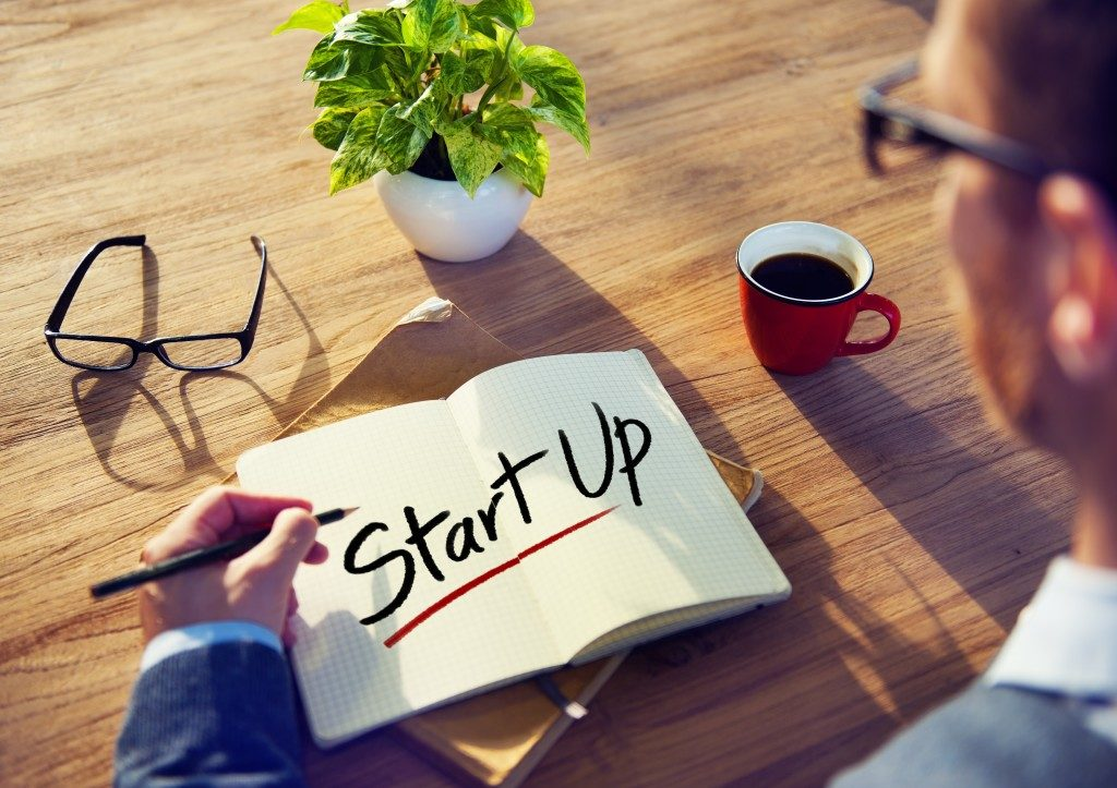 start up written on the notepad