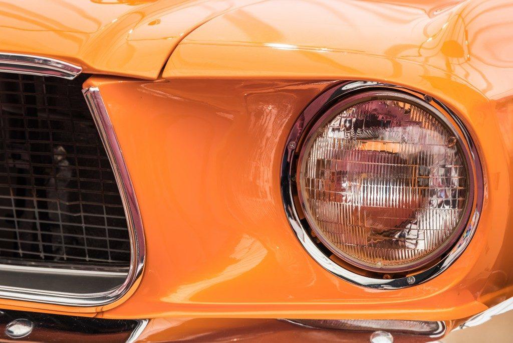 close up orange car