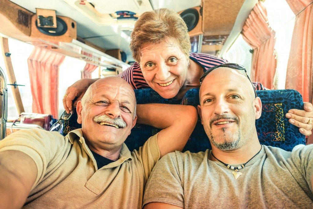 senior parents with their son