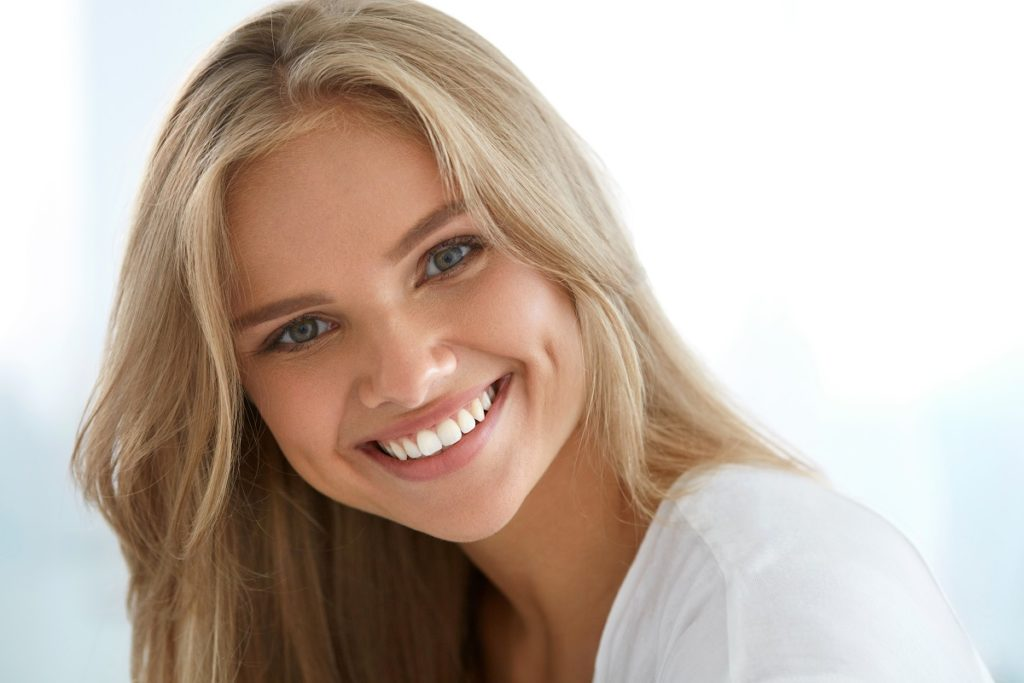 woman with white, straight teeth
