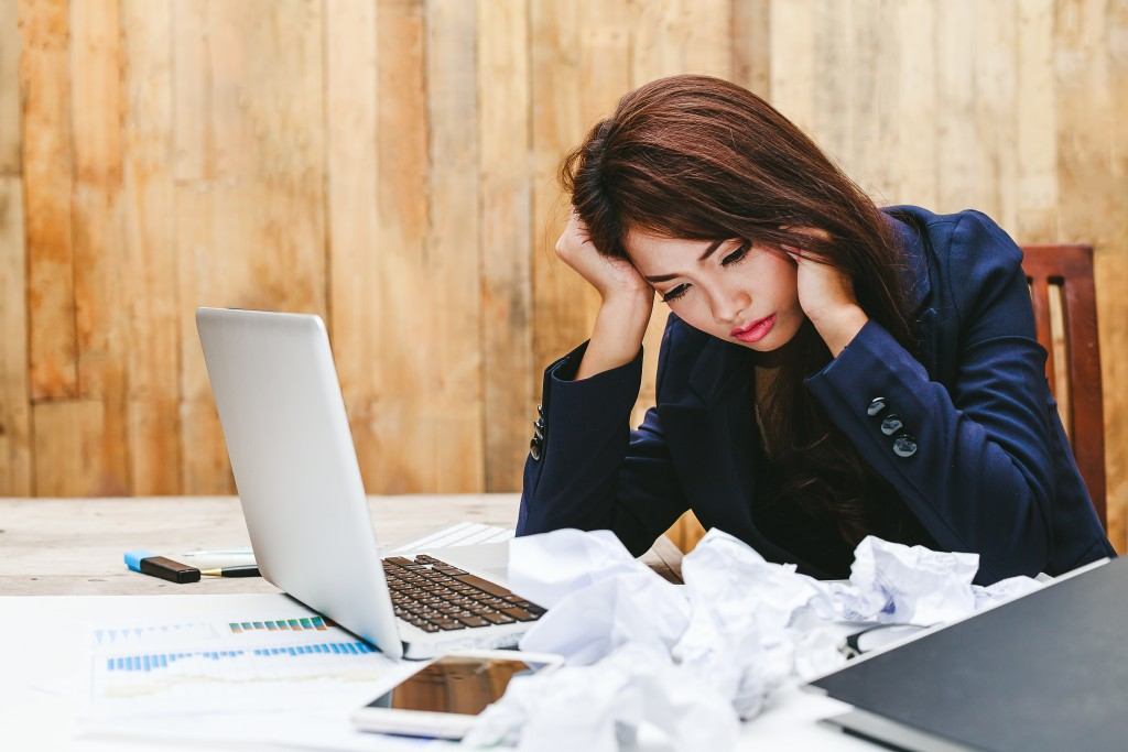 woman stressed about work