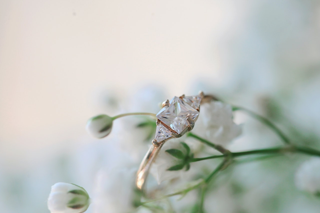 wedding ring on a plant