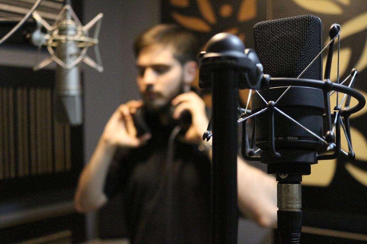 man recording
